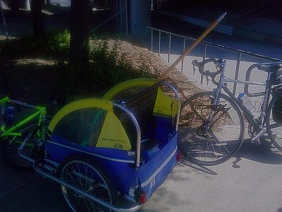 Taking my 'utility vehicle' along San Jose bike trail on a cleanup ride