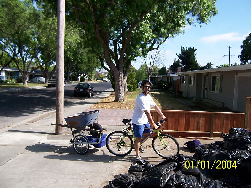 Dropping off a wheelbarrow by bike